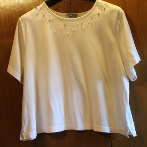 Koret 2X White t-shirt with rock and bead details